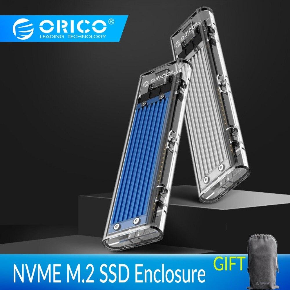 ORICO Transparent NVME M.2 à Type-c boîtier SSD M Externes Clés USB3.1 Gen2 10gbps Mini USB C SSD Boîtier Soutien UASP 2 to JMS578