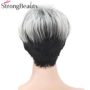 Image 4 - 強力な美容ショートグレー黒ウィッグ 2 トーン女性のかつらサイド掃引前髪人工毛