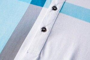 Image 4 - 2020 جديد وصول ماركة الملابس قميص بولو رجل القطن قصير الأكمام منقوشة تنفس الأعمال عادية أوم camisa حجم كبير XXXL