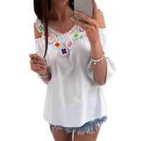 Womens Lace Stitching Loose Casual Blouse With Half Sleeves Fashion Flower Pattern Print Summer Tops Blusas