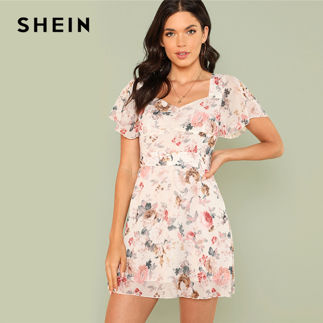 0aad9fd8fdfd SHEIN Multicolor Vacation Boho Bohemian Sweetheart Neck Flutter Sleeve Tie  Waist Floral Print Dress Summer Women Casual Dresses