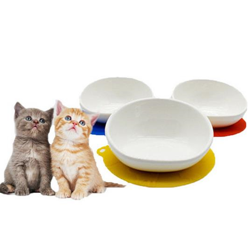 Cat Dog Feeder Portable Natural Ceramic White Feeding Bowl Non slip Set Dining Table Drinking Outdoor Travel Pet Products hot