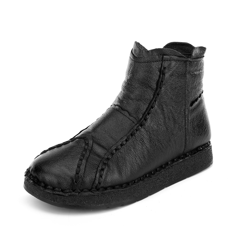 Plates Fond Main Véritable Noir Casual Femmes Confort Rétro marron Cheville Bottes La En Mode Cuir Chaussures Mou pourpre À De nwP0Ok8