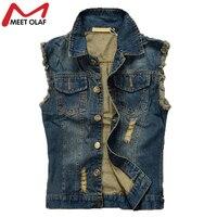 Hot Men Denim Vest Hole Sleeveless Jean Jacket Ripped Fashion Male Plus Size Waistcoat YL584