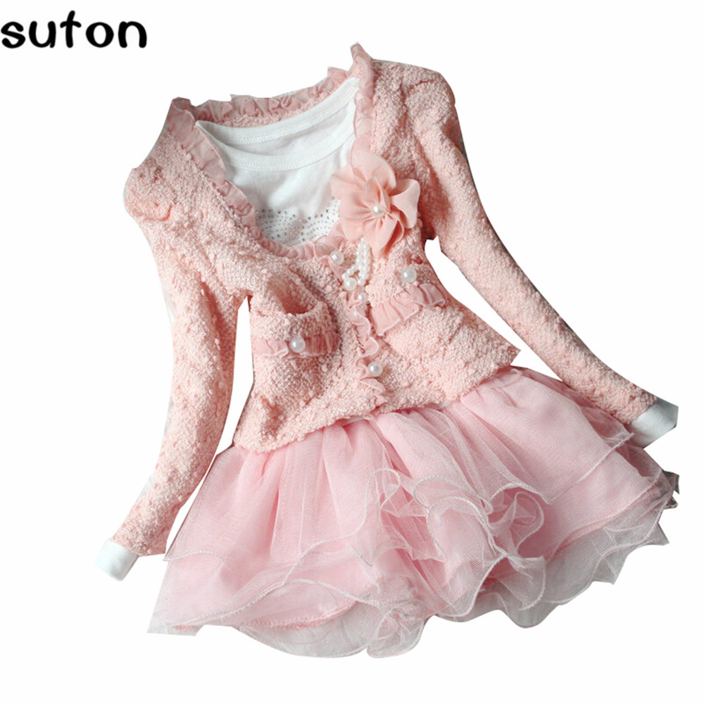 suton Baby Girl Dress Floral Coat+Dress 2Pc Set Toddler Winter Lolita Sweet Pink Lace Princess Dress 2-5 Years Children Clothes sweet years sy 6282l 07
