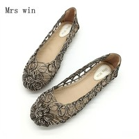 2018 Summer Shoes Women Flats Sandals Slip On Openwork Floral Covered Female Shoes Handmade Shoes Ladies