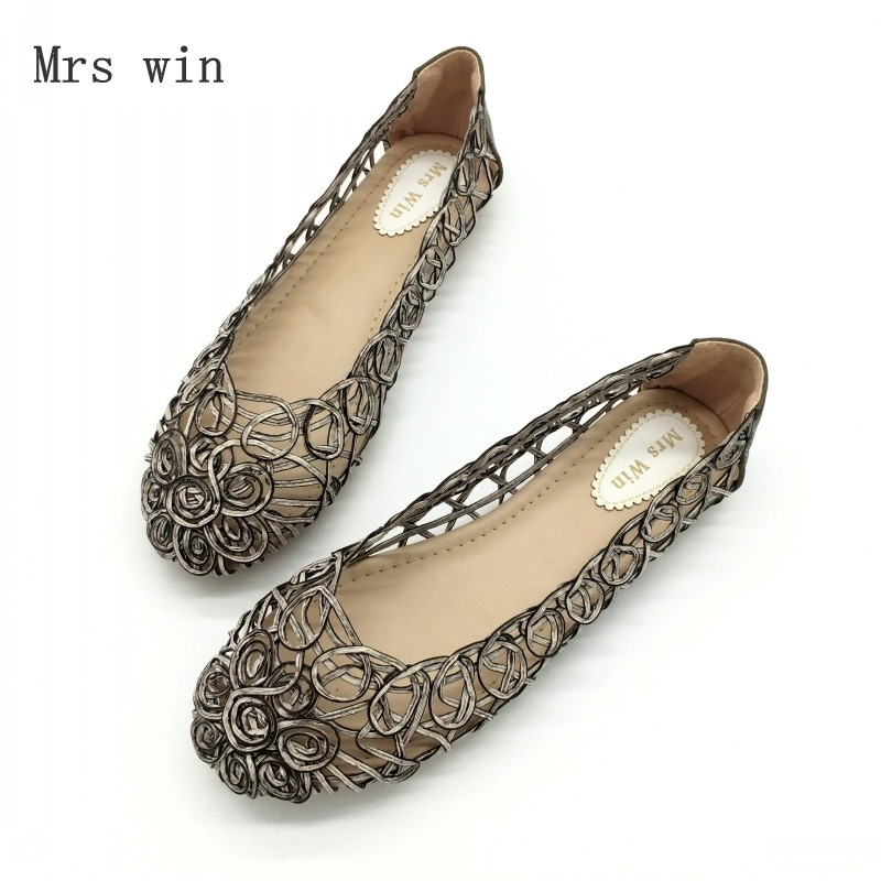 2bd3a35cbbde Detail Feedback Questions about 2018 Summer Shoes Women Flats Sandals Slip  On Openwork Floral Covered Female Shoes Handmade shoes Ladies Footwear  Zapatos ...