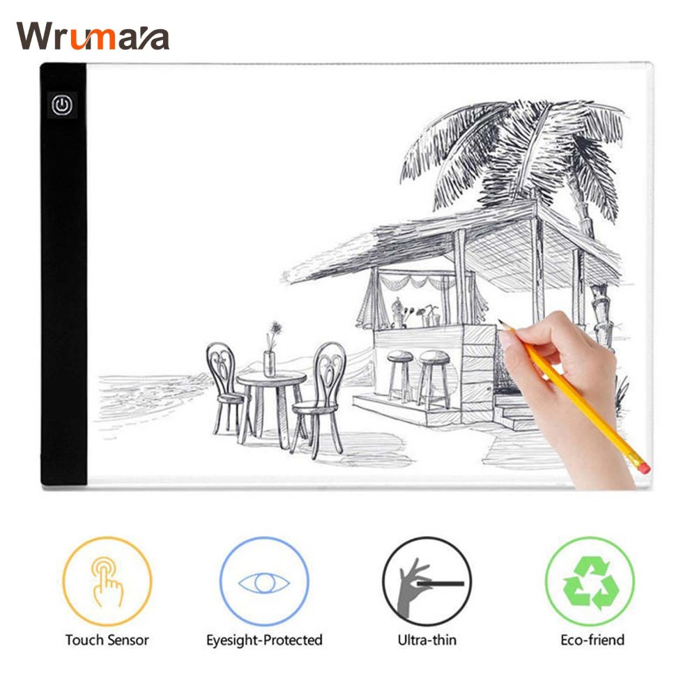 Wrumava Ultra-thin A4 LED Writing Painting Light Box Tracing Board Copy Pad Drawing Digital Tablet Artcraft Copy Table LED Board m way 35x23x0 52cm ultra thin pencil drawing table graphics tablet a4 led copy adjustable brightness tracing copyboard