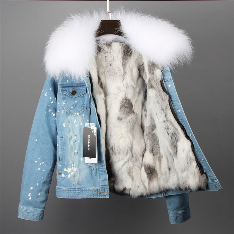2017new fashion brand women denim coat girl denim jacket big raccoon fur collar real rabbit fur thick lining bomber jacket keep faux rabbit fur brown mr short jacket sleeveless with big raccoon collar fall coat