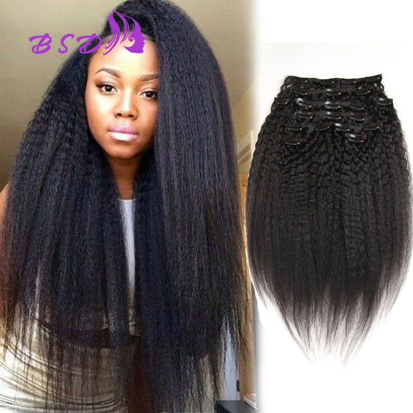 Kinky Straight Clip In Human Hair Extensions African American Clip In Human Hair Extensions Afro Kinky Curly Clip Ins Remy Hair