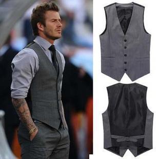 Fashion Commerce Grey Mens Tank Body Shaper Man Beckham Vest Underwear Men Coats Office Suit Celebrity
