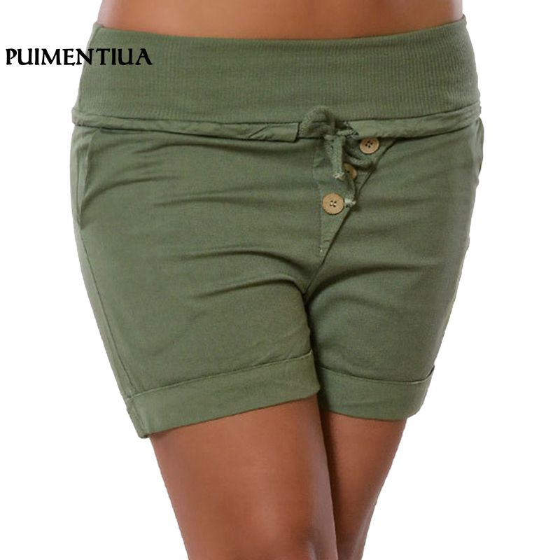 Puimentiua 2018 Simple Women Casual   Shorts   Body Fitness Workout Summer   Short   Female Elastic Waist Slim Fit   Short   Plus Size 5XL