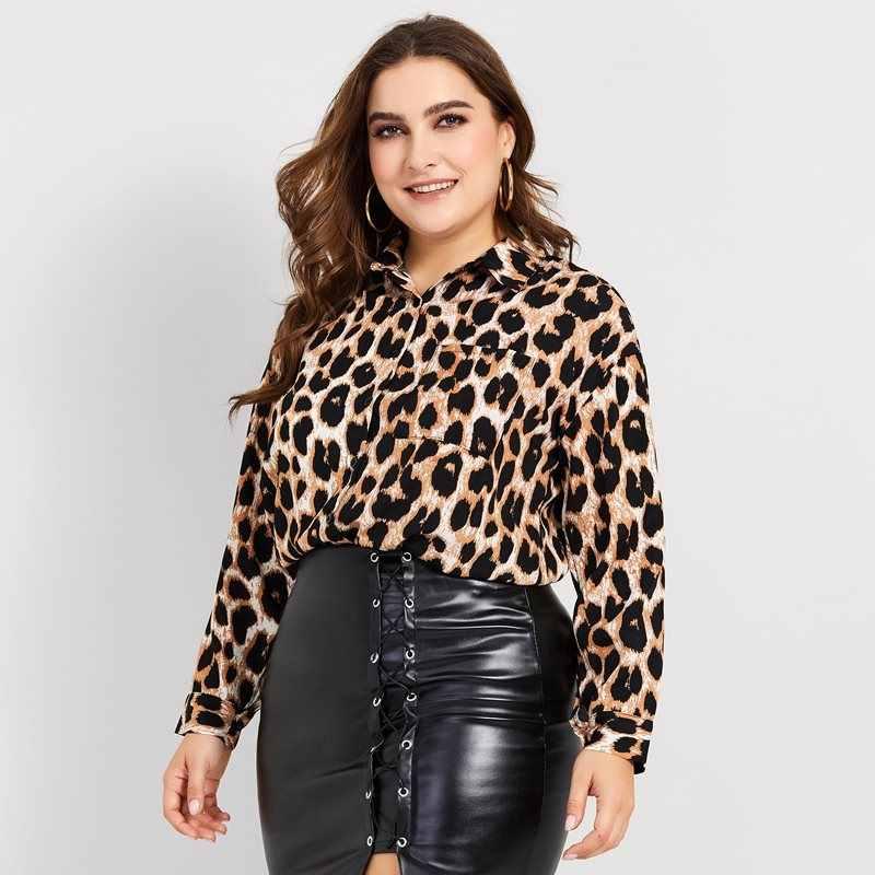 e0e2ff14332af Sisjuly Women Spring Summer Plus Size 4XL Leopard Blouse Shirt Top Office  Lady Punk Style Large