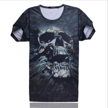 European Style Mens T-Shirt Noverty Skulls 3D Printed Tee Shirts Casual Fitness Short Sleeve Masculine Hip Hop Tops Design Cool