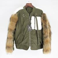 Brand Real Fur Coat 2019 Parka Bomber Jacket Winter Jacket Women Parkas Raccoon Fur and Rabbit Fur Sleeve Streetwear Casual