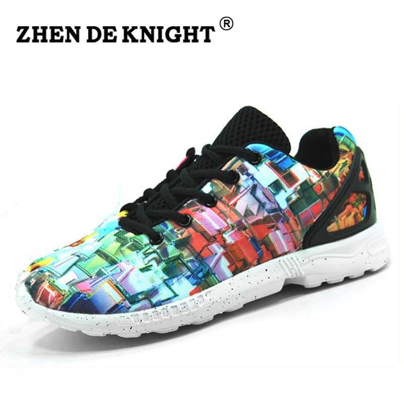 2016 new color printing chaussure femmemen flat zapatillas hombre lace up basket adult casual - Basket Femme Color