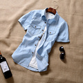 T aliexpress китай дешевые оптовая 2016 новый Мужской летом деним с коротким рукавом рубашки тонкий джинсовые мужчины повседневная короткие рукав рубашки