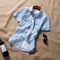 T de china de los aliexpress barato al por mayor 2016 nuevo Macho verano mezclilla camisa de mangas cortas delgado denim hombre casual corto camisa de manga