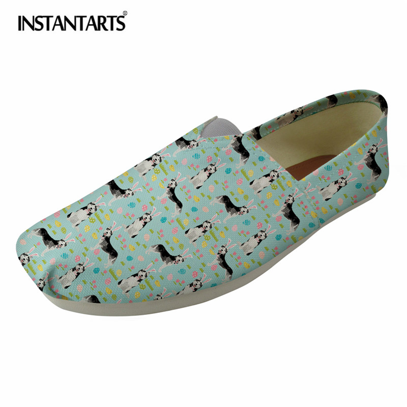 INSTANTARTS Cute Husky Printing Breathable Flat Shoes Spring Summer Slip On Loafer Shoes for Girls Lady Causal Canvas Lazy Shoes