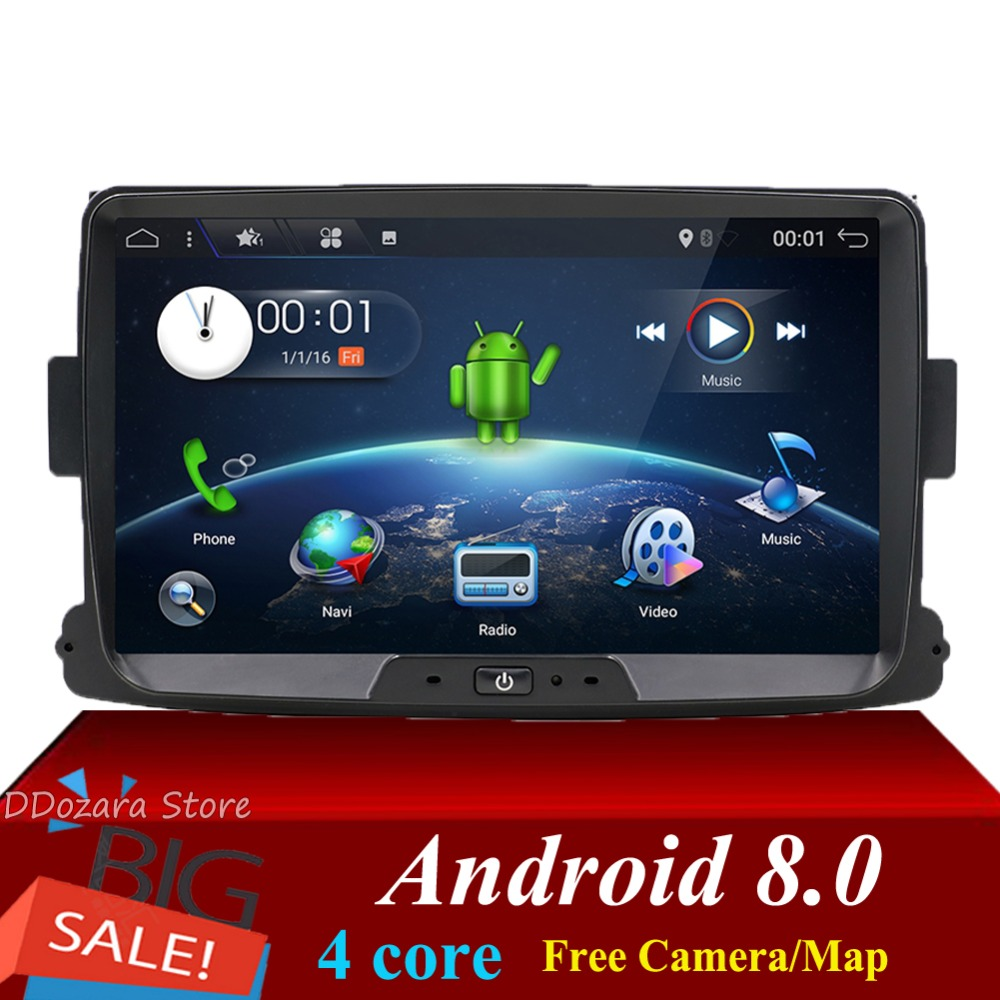 1 din for Dacia/Xray/Lada/Duster/Sandero/Logan car radio android 8.0 Multimedia Player with rear view camera map canbus SWC