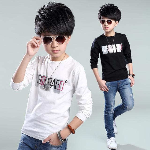 Crianças T-Shirt de Manga Longa Meninos T-Shirt de carta branca preta de alta qualidade novo 2016 Outono Inverno 100% Algodão