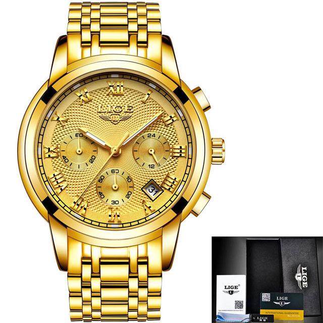 New LIGE Watches Men Chronograph Sports Waterproof Full Steel Quartz