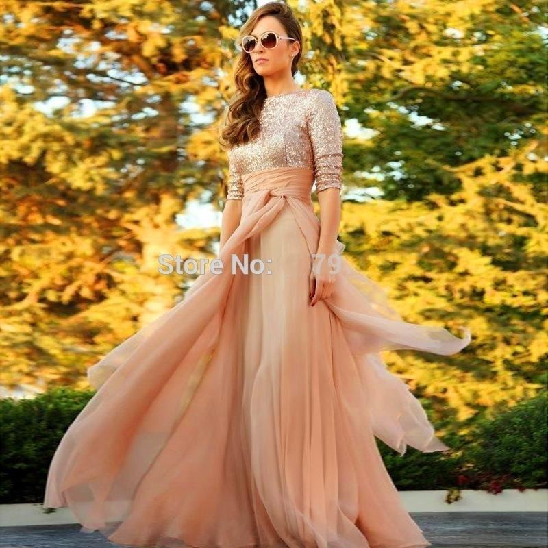 2cd7b38441 Stunning Longo Party Arabic Evening Dresses Muslim Half Sleeves Sequins  Chiffon Kaftan Dubai Prom Formal Gowns Vestidos