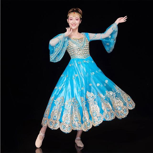 ee4fc9de7c New Fashion blue India style ethnic Clothes Uighur Clothing Stage  Performance Xinjiang Dance dress Chinese folk dance costumes
