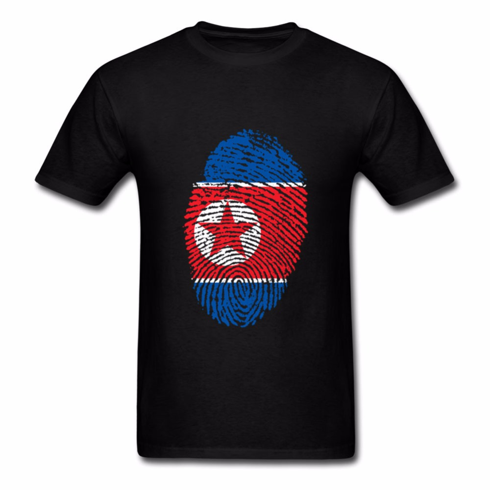 Fashion Short Sleeve T-Shirt Fashion North Korea Flag Fingerprint Print Men's T-Shirt O-Line Casual Top New image