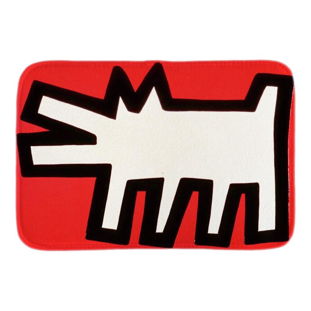Lustige Tür Matte Mit Keith Haring Kunst Hund Fußmatte Eingang boden Innen Soft Front Tür Bad Fußmatten Kurze Plüsch matten