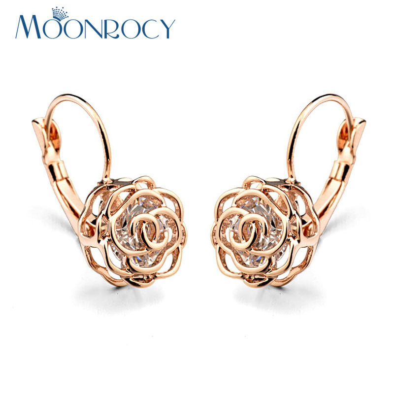 MOONROCY Drop Shipping Italina Fashion Jewelry hurtowych Rose Gold Color CZ Crystal Flower Kolczyki Prezent New For Women