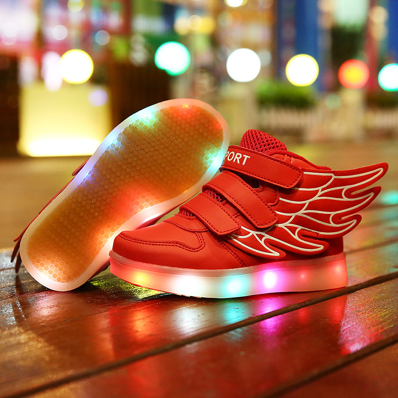 ФОТО Children LED shoes wing lamp luminous shoes fashion leisure brand sports shoes high quality USB Charging scarpe bambini