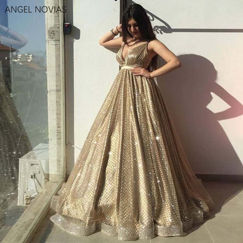 Long Gold Woman Glitter Arabic Evening Dress 2018 V Neck Formal