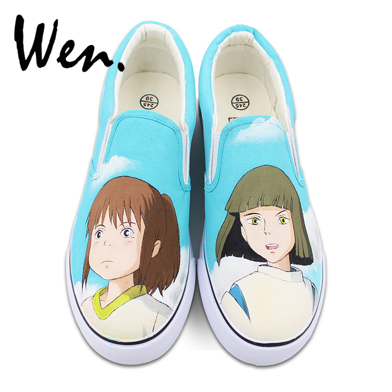 Wen Anime Spirited Away Custom Design Hand Painted Shoes for Men Women White Slip On Canvas Sneakers a spirited resistance