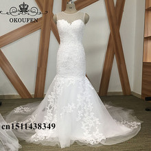 OKOUFEN 100% Real Photo Mermaid Lace Wedding Dresses For