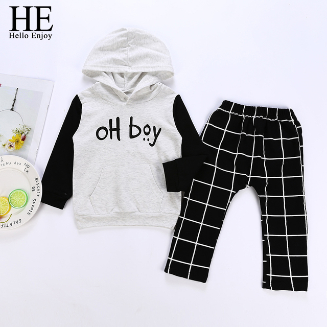 2fc232889 US $9.68 20% OFF|HE Hello Enjoy Baby Clothes Set Hooded Long Sleeve Print  OH Boy Sweatshirt+Plaid Pants Tracksuits Boys Boutique Clothing Autumn -in  ...