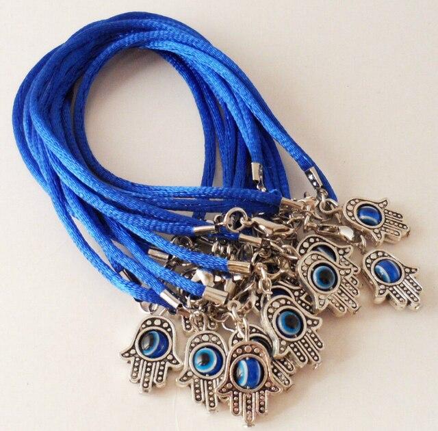 Fashion Summer Style Hamsa Fatima Evil Eye Blue String Bracelet Good Luck Bangle For Women Box