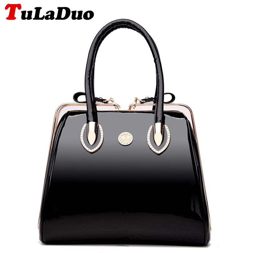 Patent Leather Luxury Tote Bag Fashion Top-Handle Bags Famous Brand Designer Handbags Women Evening Party Handbag Bolsa Feminina kzni real leather tote bag high quality women leather handbags top handle bags purses and handbags bolsa feminina pochette 9057