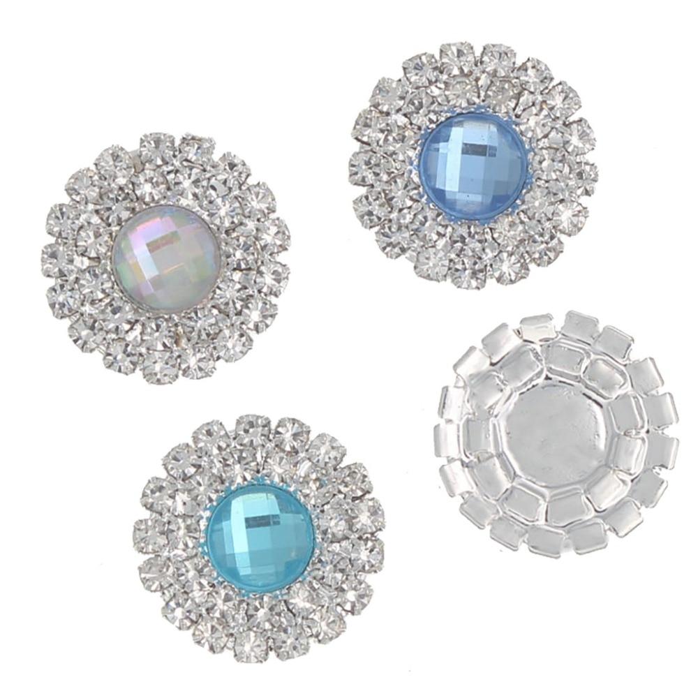10pcs Retro Crystal Flatback Buttons Embellishments Wedding DIY Decor 20mm