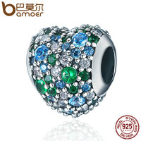 BAMOER Authentic 925 Sterling Silver Glittering Heart Clear CZ Beads Fit Women Charm Bracelet Bangles DIY
