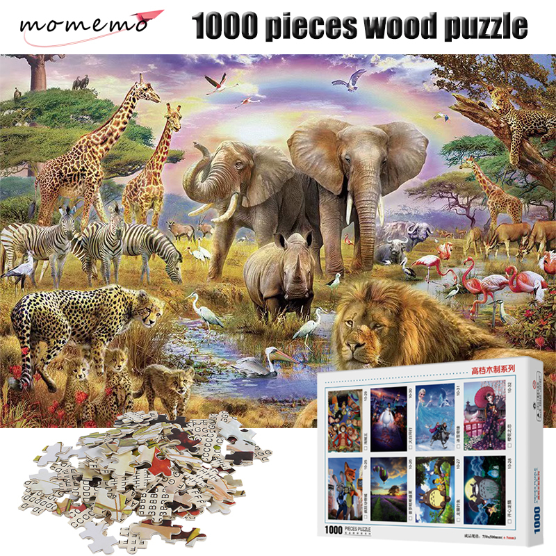MOMEMO Animal Paradise 1000 Pieces Puzzle Wooden Adult Entertainment Puzzle 1000 Pieces Puzzle Game Assembling Children's Toys