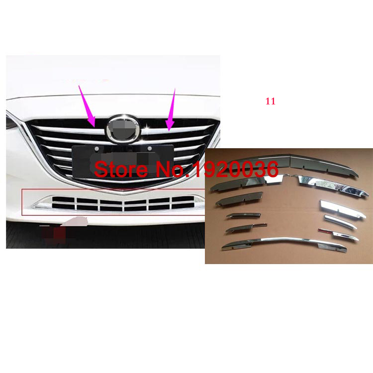Car styling ABS Chrome Car Front  central Gille Trim Auto Grille Decoration Cover Trims for MAZDA 3 AXELA 2014 car accessories for mazda 3 axela 2014 2015 2016 abs chrome front grille trim center grill cover around trim car styling accessories 11 pcs set