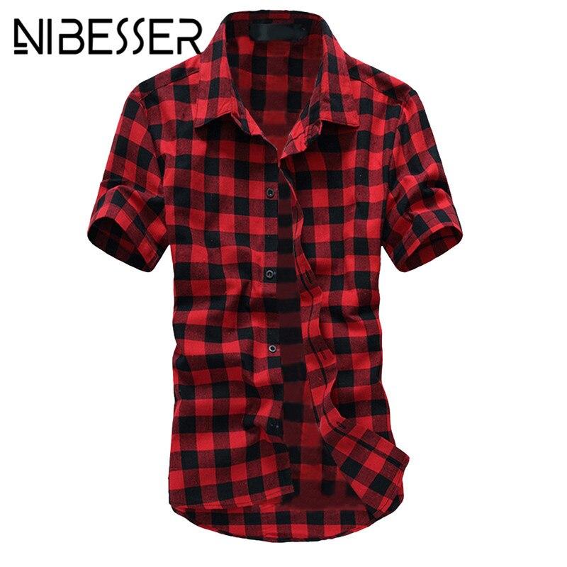 NIBESSER Plus 3XL geruit overhemd Heren Zomer 2018 Korte mouw - Herenkleding