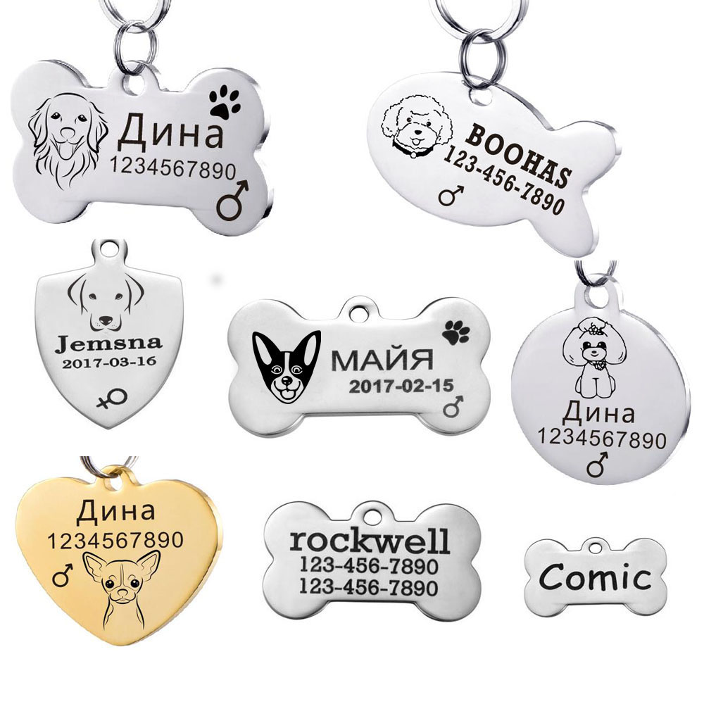 Stainless Steel Dog Tags  For Cat  On The Dog Collar  Customized Pet Id Tag Personalized Name Tag For Puppy  Tag001