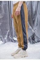 Vintage Velour Stripe Fleece Sweatpants Men Autumn&Winter Elastic Waist Terry Jogger Pants Free Shipping