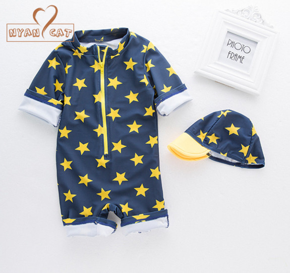 Nyan Cat summer baby boy star swimwear+hat 2pcs set striped zipper swimming suit infant toddler kids children swimwear clothing star island summer