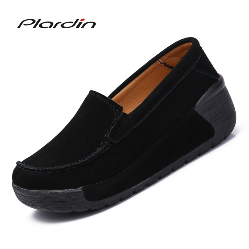 Plardin New Woman Casual Shoes Women Breathable Sewing Flats Shoes   Suede     Leather   Platform Flats Shoes Woman ladies shoes