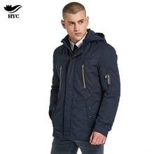 HAI YU CHENG Hot Selling Solid Colors Slim Fit Long Zipper Pocket Hooded Windbreaker Spring Jacket Men Thin Parka