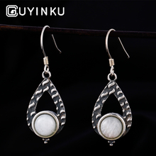 GUYINKU Natural Moonstone 925 Jewelry Trendy Gemstone Drop Earrings For Women Engagement Wedding Gift Fine