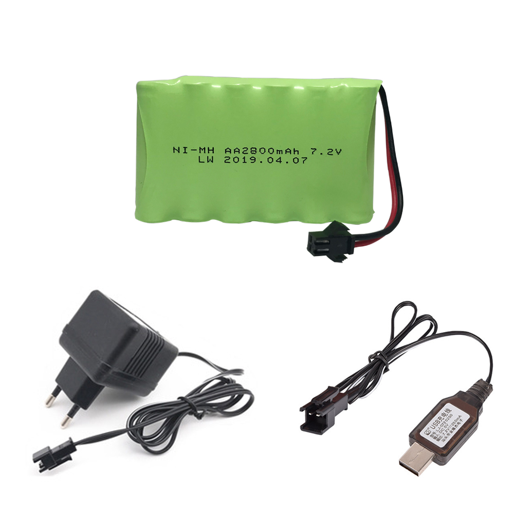 7.2V 2800mah AA NI-MH <font><b>Battery</b></font> SM Plug with charger set High capacity electric toys <font><b>battery</b></font> Remote car ship robot <font><b>7.2</b></font> <font><b>v</b></font> <font><b>battery</b></font> image